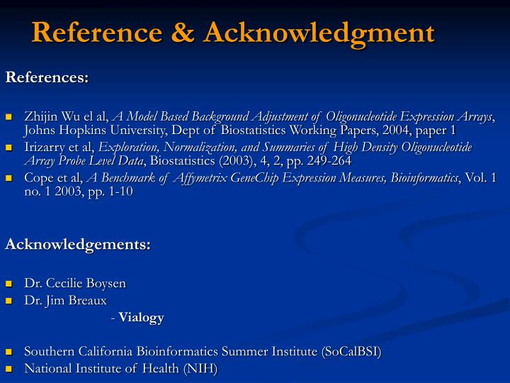 Reference & Acknowledgment