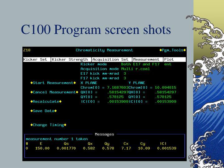 C100 Program screen shots