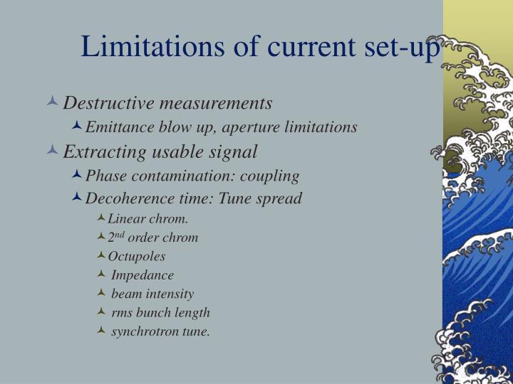 Limitations of current set-up