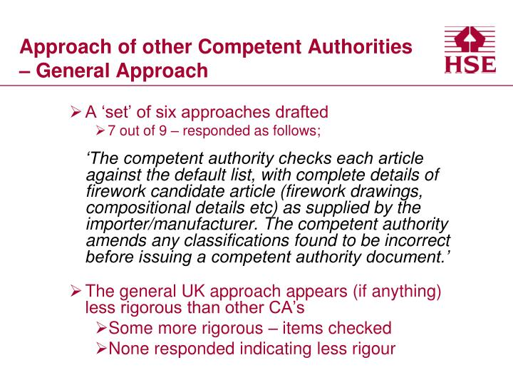 Approach of other Competent Authorities – General Approach
