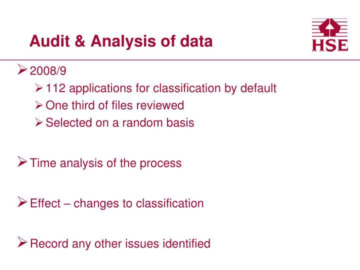 Audit & Analysis of data