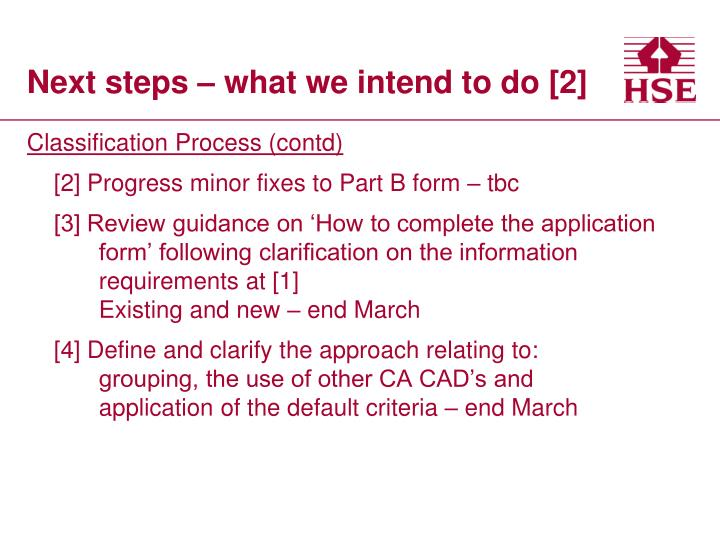 Next steps – what we intend to do [2]
