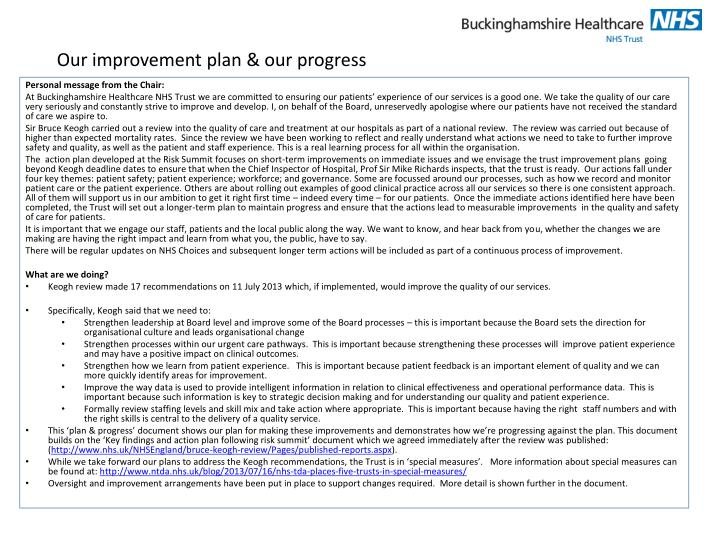 Our improvement plan our progress
