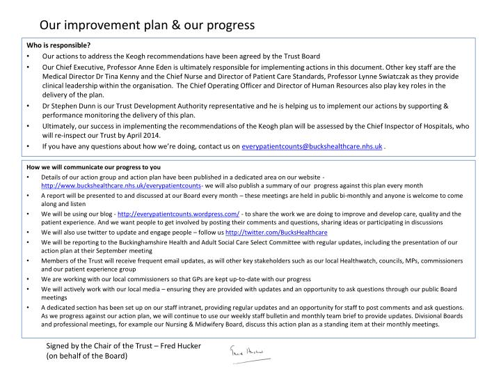 Our improvement plan our progress1
