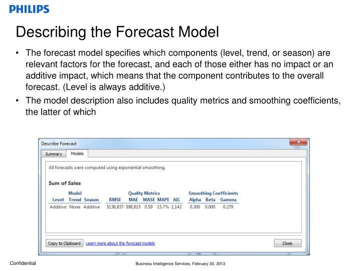 Describing the Forecast Model