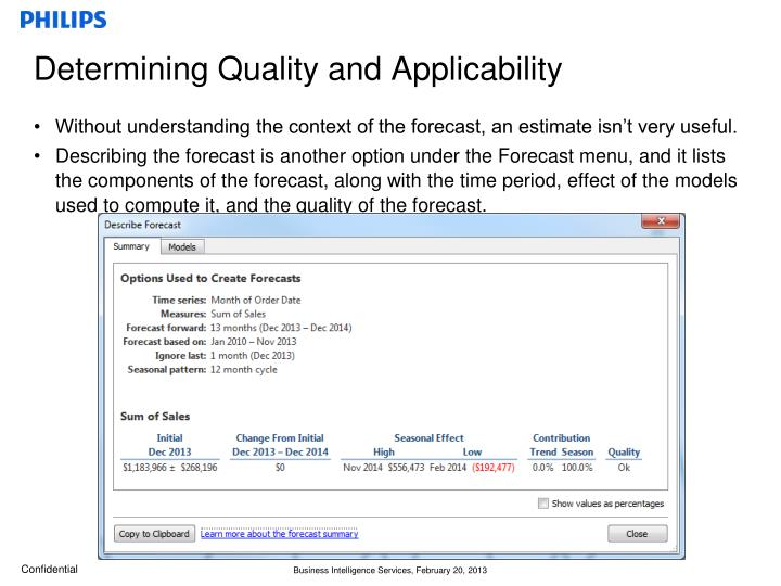 Determining Quality and Applicability