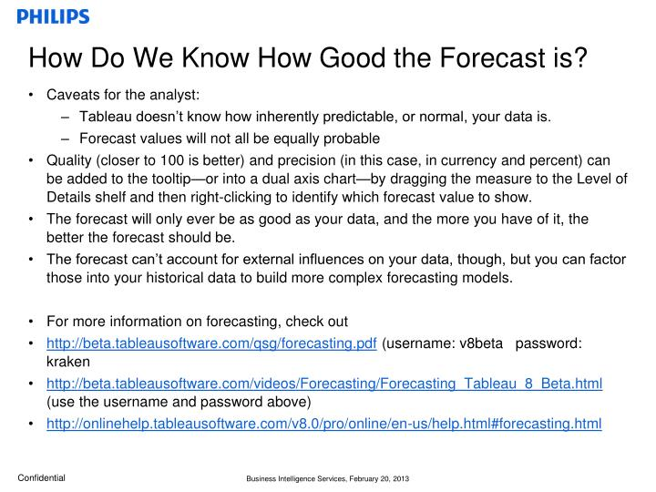 How Do We Know How Good the Forecast is?