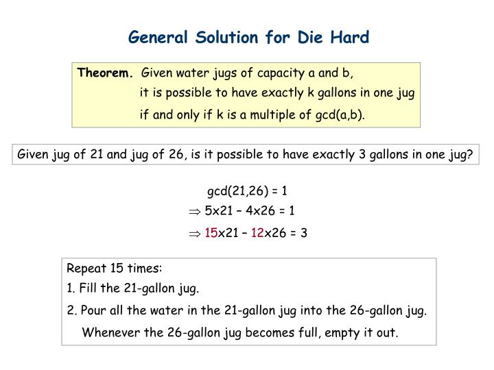 General Solution for Die Hard