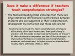 does it make a difference if teachers teach comprehension strategies