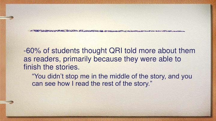 -60% of students thought QRI told more about them as readers, primarily because they were able to finish the stories.