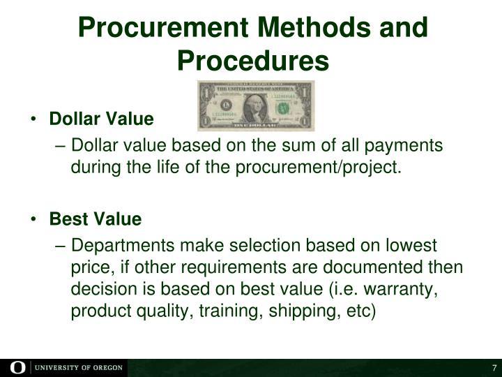 Procurement Methods and Procedures