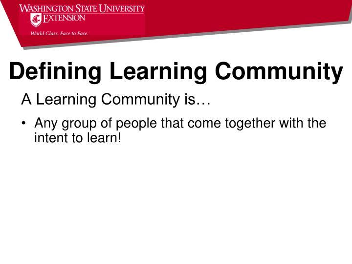 Defining Learning Community