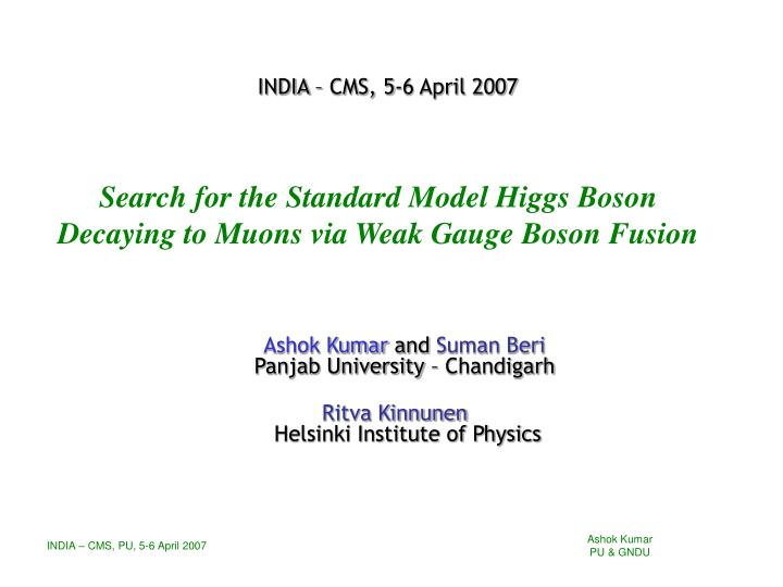 search for the standard model higgs boson decaying to muons via weak gauge boson fusion n.