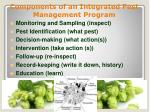 components of an integrated pest management program