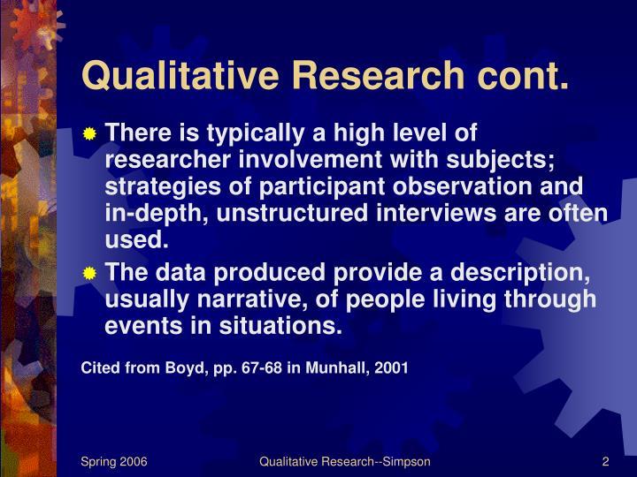 Qualitative research cont