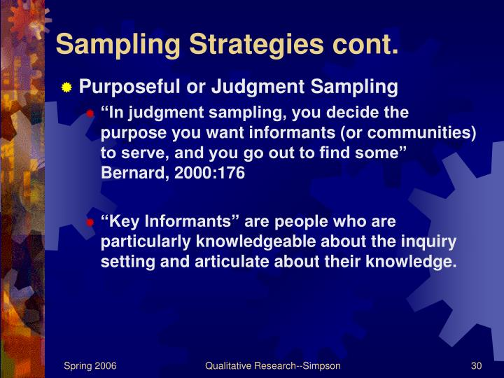Sampling Strategies cont.