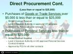 direct procurement cont less than or equal to 25 000