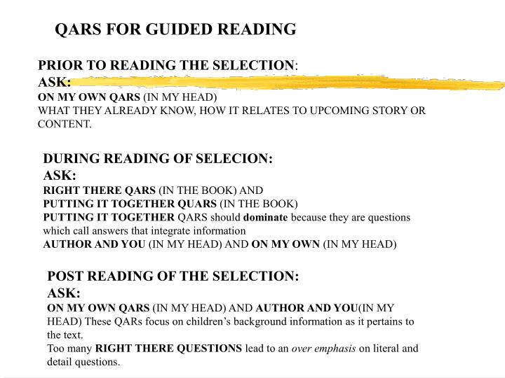 QARS FOR GUIDED READING