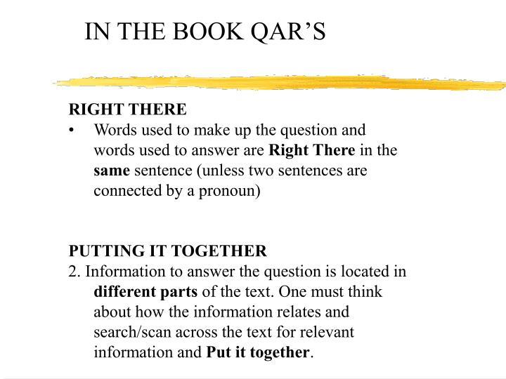 IN THE BOOK QAR'S