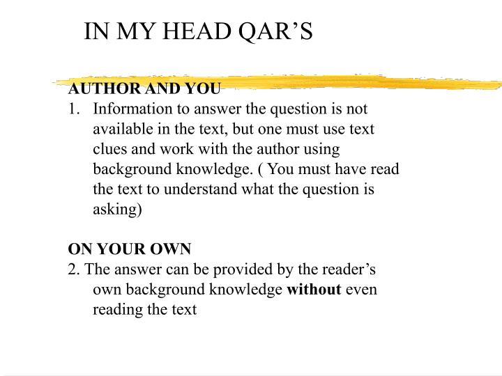IN MY HEAD QAR'S