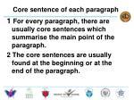 core sentence of each paragraph