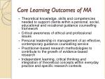 core learning outcomes of ma