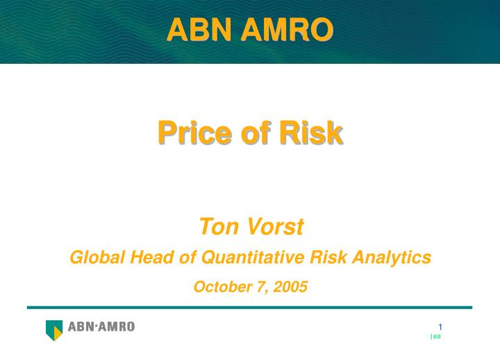 price of risk