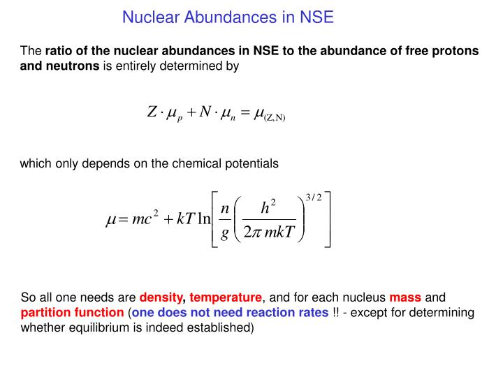 Nuclear Abundances in NSE