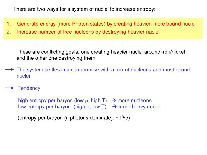 There are two ways for a system of nuclei to increase entropy: