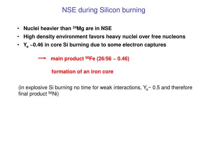 NSE during Silicon burning