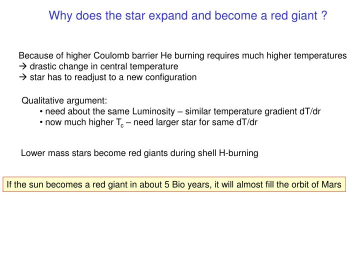Why does the star expand and become a red giant ?