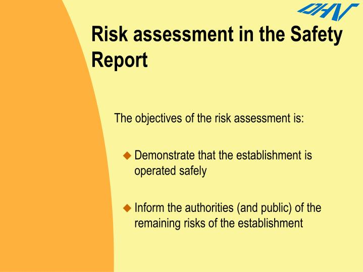 Risk assessment in the Safety Report