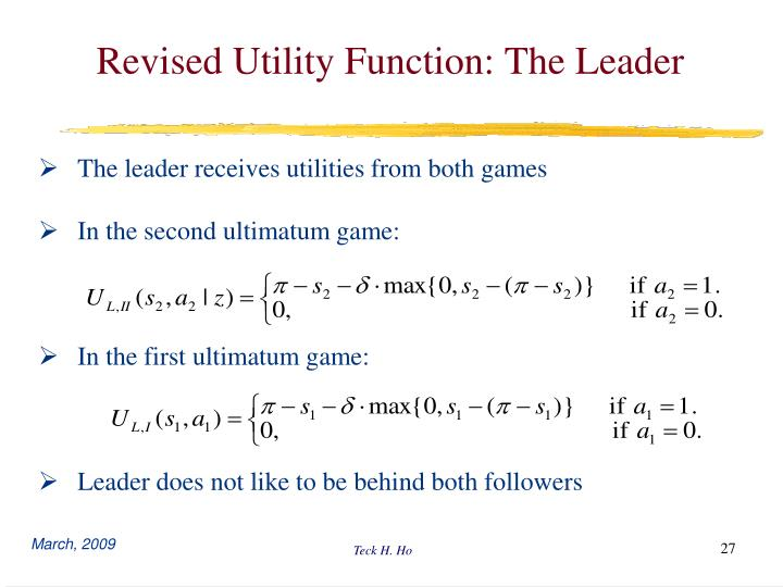Revised Utility Function: The Leader