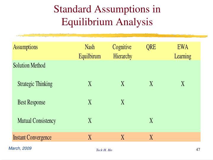 Standard Assumptions in