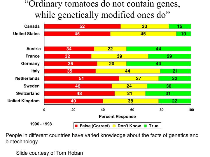 """""""Ordinary tomatoes do not contain genes, while genetically modified ones do"""""""