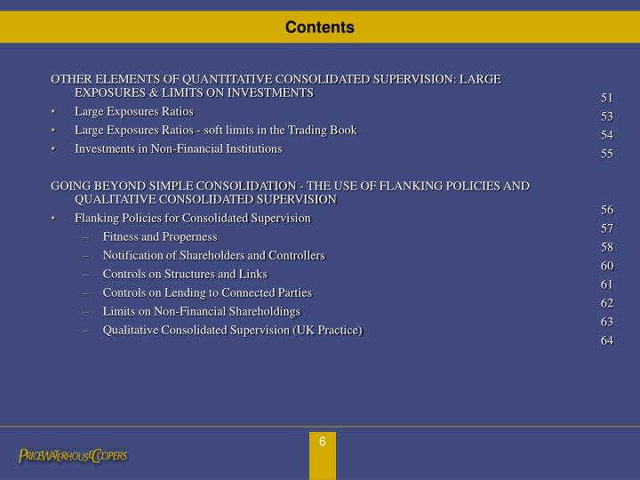 OTHER ELEMENTS OF QUANTITATIVE CONSOLIDATED SUPERVISION: LARGE EXPOSURES & LIMITS ON INVESTMENTS