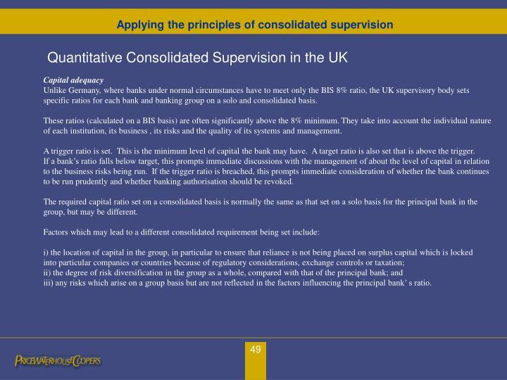 Quantitative Consolidated Supervision in the UK