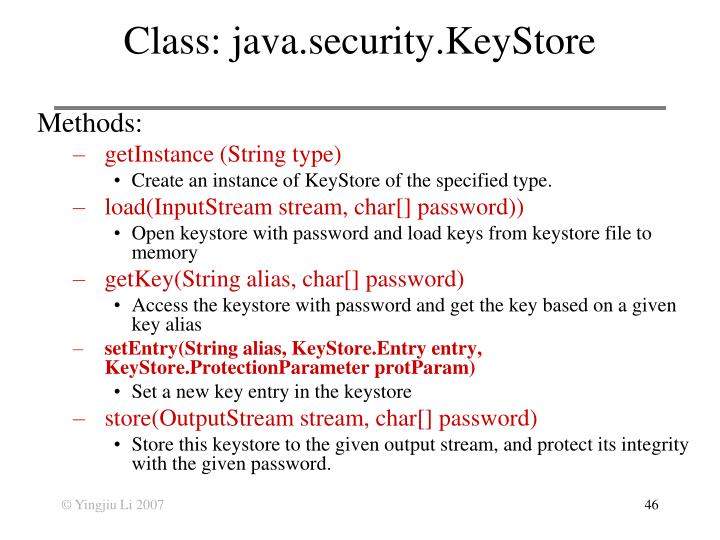 Class: java.security.KeyStore
