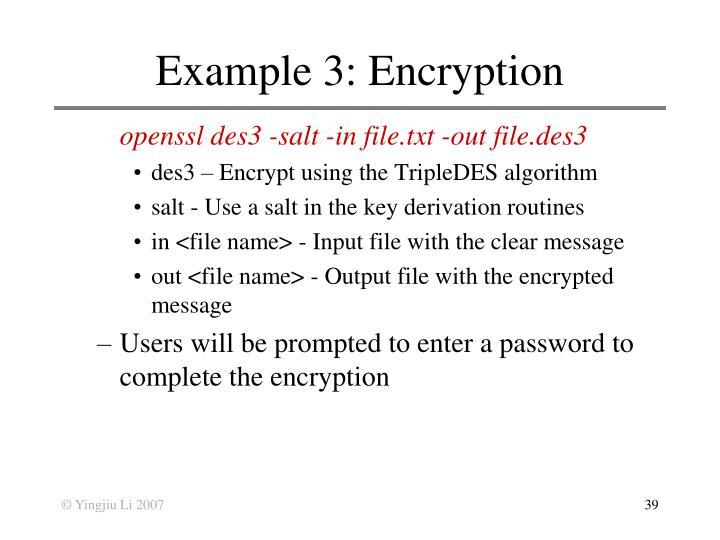 Example 3: Encryption