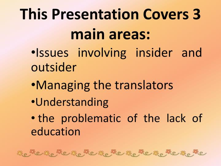 This presentation covers 3 main areas