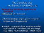 the complete list 100 stocks in nazdaq 100