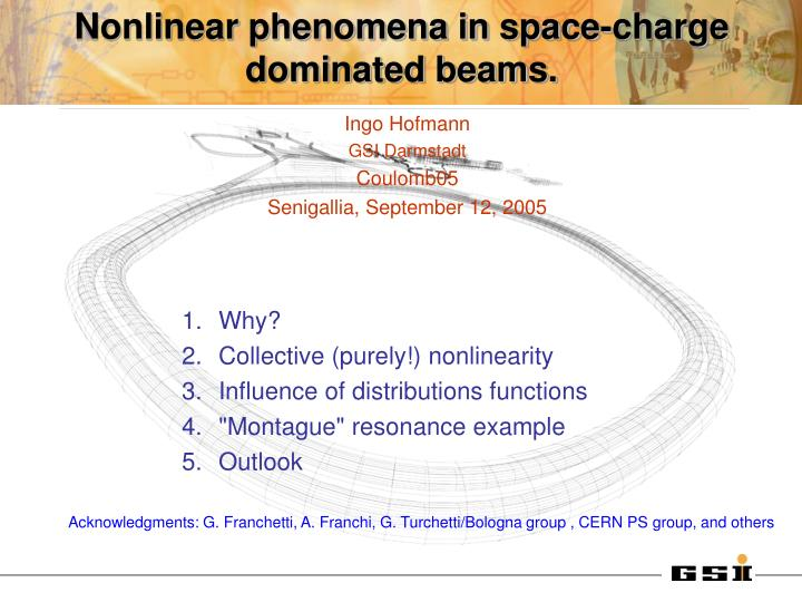 nonlinear phenomena in space charge dominated beams n.