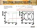 space charge dynamical tune shift causes saturation of exchange by feedback on space charge force