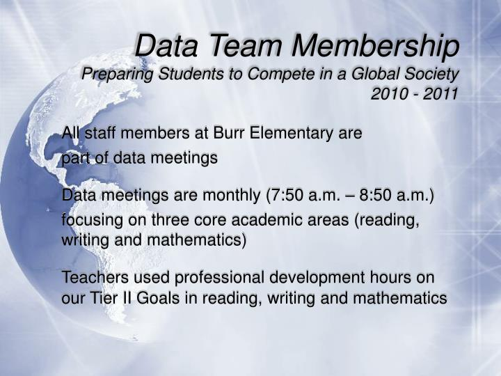 Data team membership preparing students to compete in a global society 2010 20111