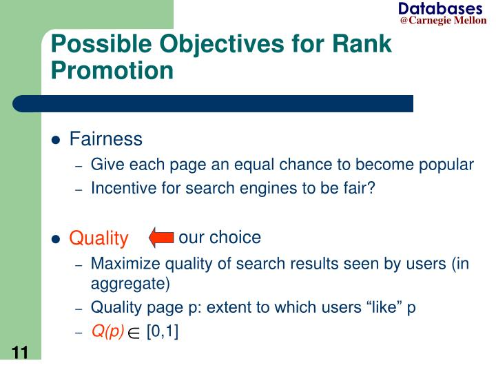Possible Objectives for Rank Promotion
