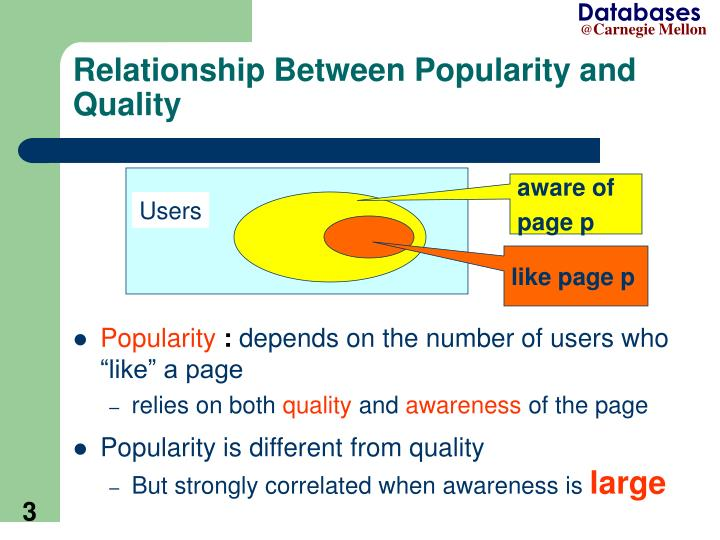 Relationship between popularity and quality