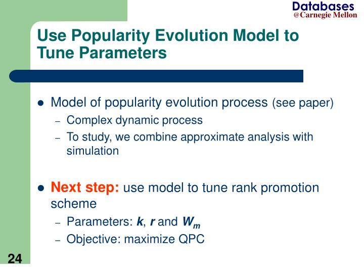 Use Popularity Evolution Model to Tune Parameters