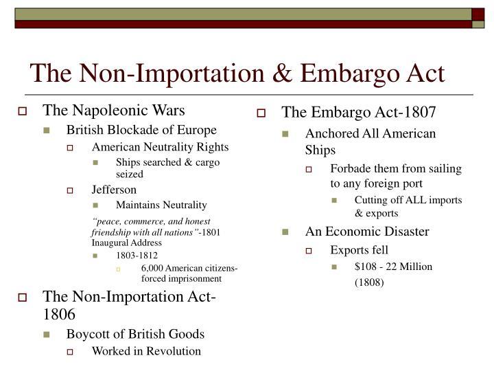 The Non-Importation & Embargo Act