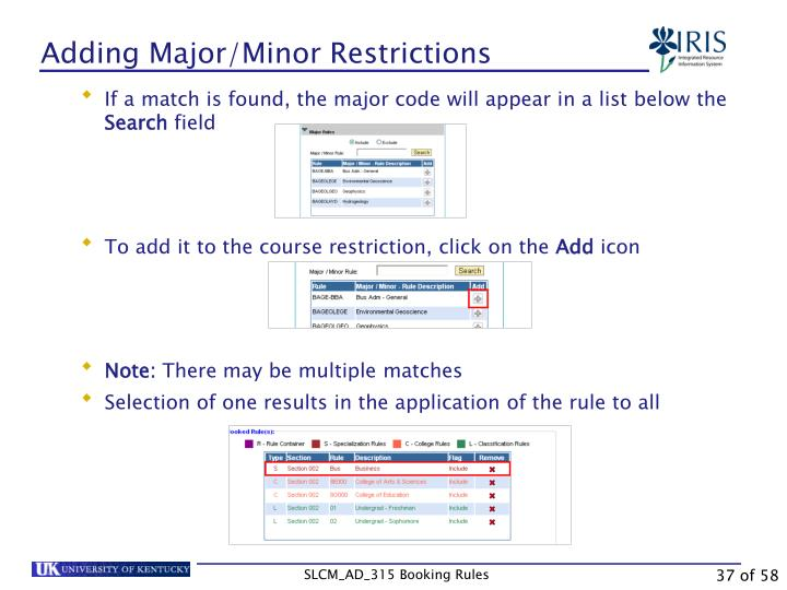 Adding Major/Minor Restrictions