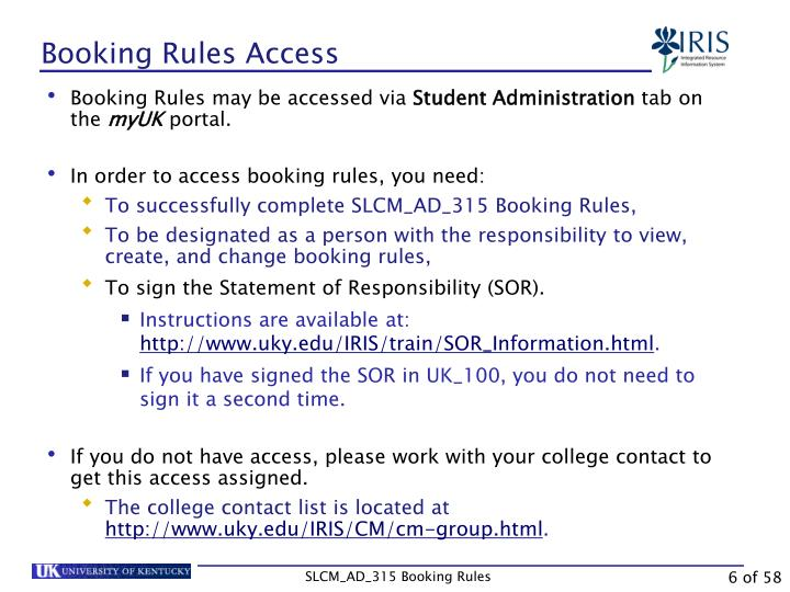 Booking Rules Access